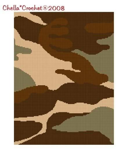 Camouflage Tan Camo Afghan Crochet Pattern Graph