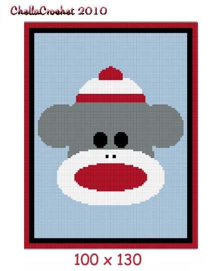 Baby Sock Monkey Afghan Crochet Pattern Graph 100st