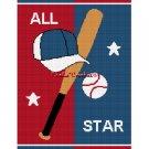 Baseball hat bat ALL STAR Afghan Crochet Pattern Graph