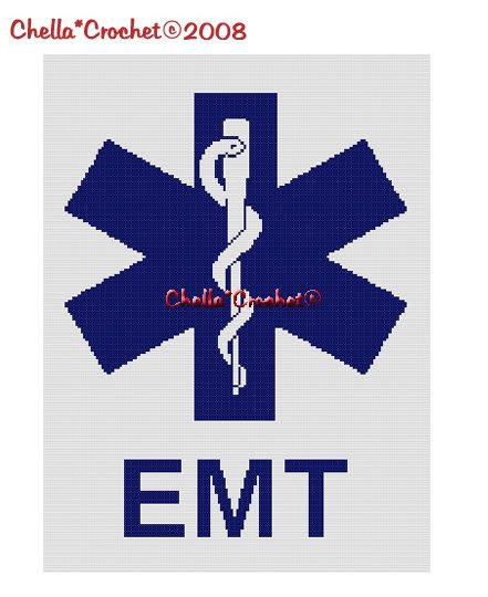 Star of Life Cross EMT EMS Afghan Crochet Pattern Graph