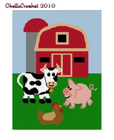 Farm Scene Cow Pig Chicken Barn Afghan Crochet Pattern