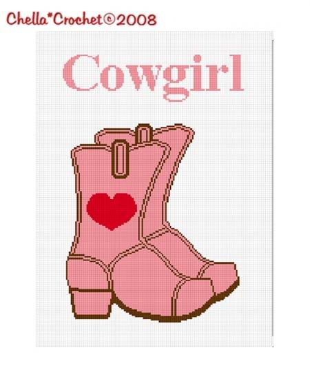 Cowgirl Boots Heart Pink Afghan Crochet Pattern Graph