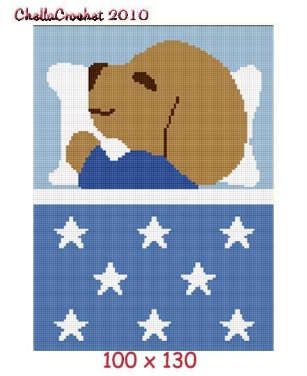Puppy Sleeping Afghan Crochet Pattern Graph 100st Blue