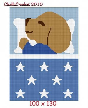 Puppy Sleeping Afghan Crochet Pattern Graph 100st Blue