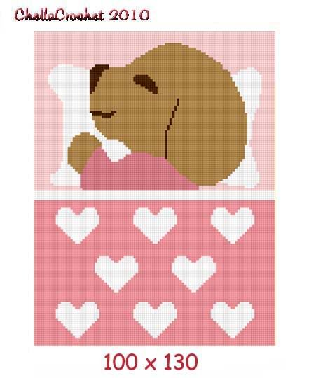 Puppy Sleeping Afghan Crochet Pattern Graph 100st Pink