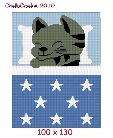 Kitten Cat Star Afghan Crochet Pattern Graph 100st Blue