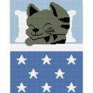 Kitten Cat Star Afghan Crochet Pattern Graph 100st Blue