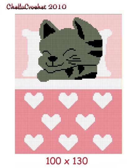 Kitten Cat Hearts Afghan Crochet Pattern Graph 100st