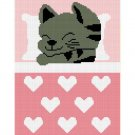 Kitten Cat Hearts Afghan Crochet Pattern Graph 100st