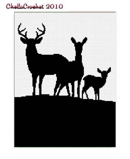 Deer Family Silhouette Afghan Crochet Pattern Graph