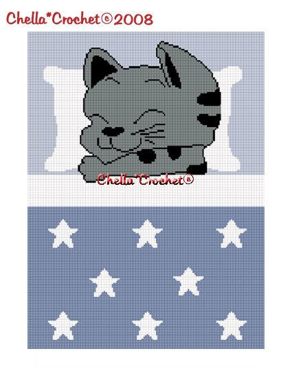 Sleeping Kitten Cat Afghan Crochet Pattern Graph 150st