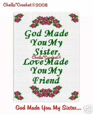 God Made You My Sister  Afghan Crochet Pattern Graph