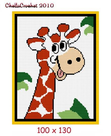 Baby Giraffe Jungle Afghan Crochet Pattern Graph 100st