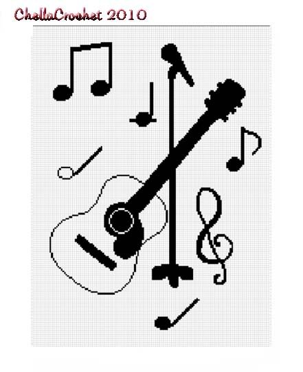 Guitar Acoustic Note Music Afghan Crochet Pattern Graph