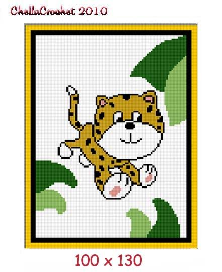 Baby Cheetah Jungle Afghan Crochet Pattern Graph 100st