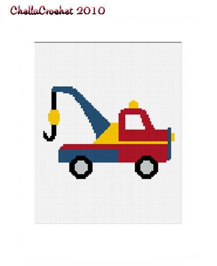 Toy Tow Truck Afghan Crochet Pattern Graph 100st Easy