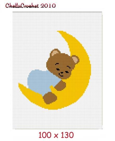 Teddy Bear on Moon Afghan Crochet Pattern Graph 100st B