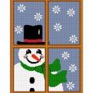 Snowman in Window Afghan Crochet Pattern Graph