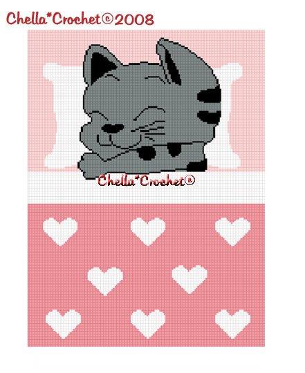 Sleeping Kitty Cat Girl Afghan Crochet Pattern Graph