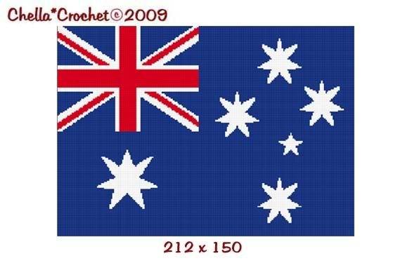 Australian Australia Flag Afghan Crochet Pattern Graph