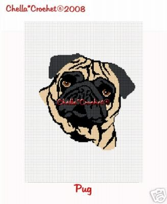 So Cute Pug Dog  Afghan Crochet Pattern Graph