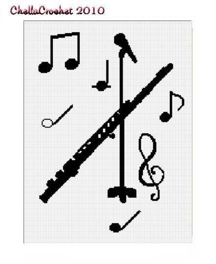 Flute Microphone Music Afghan Crochet Pattern Graph