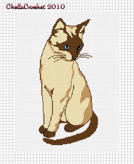 Blue Eyed Siamese Cat Afghan Crochet Pattern Graph