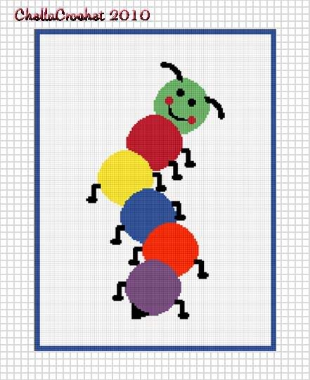 Colorful Caterpillar Baby Afghan Crochet Pattern Graph