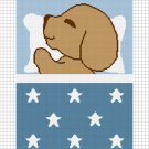 Sleeping Puppy Dog Blue Afghan Crochet Pattern Graph