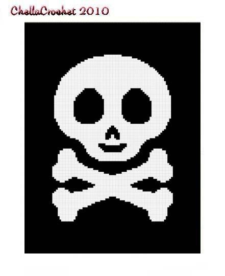 Skull Crossbone Black Afghan Crochet Pattern Graph 100s