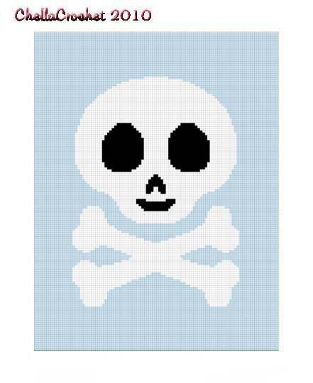 Skull Crossbone Blue Afghan Crochet Pattern Graph 100st