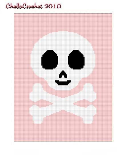 Skull Crossbone Pink Afghan Crochet Pattern Graph 100st