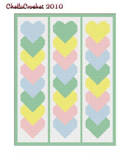 Baby Linked Hearts Afghan Crochet Pattern Graph 100st