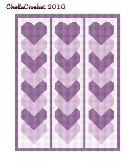 Purple Linked Hearts Afghan Crochet Pattern Graph 100st