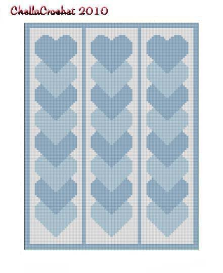 Blue Linked Hearts Afghan Crochet Pattern Graph 100st