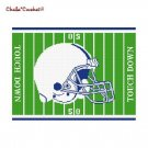 Football Helmet Blue White Afghan Crochet Pattern Graph