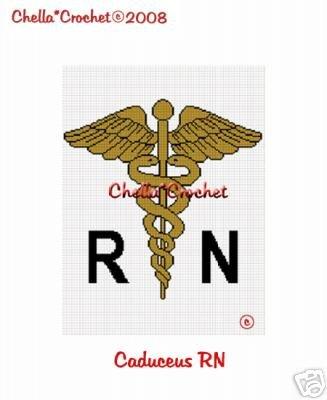 Caduceus RN Nurse Medical Afghan Crochet Pattern Graph