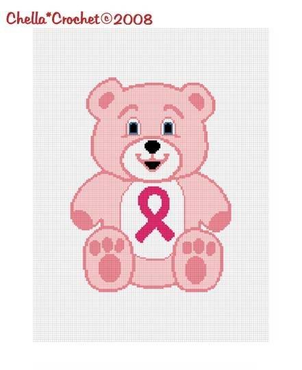 Breast Cancer Teddy Bear Ribbon Afghan Crochet Pattern