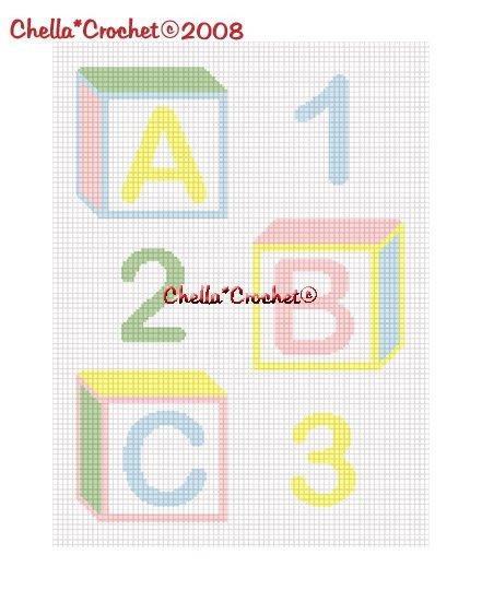 Baby Blocks ABC 123 Pastel Afghan Crochet Pattern Graph