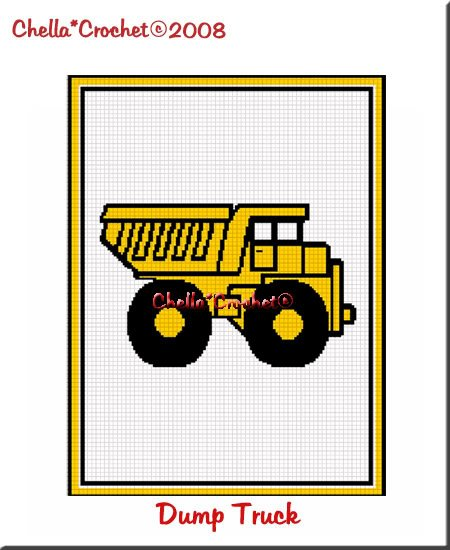 Yellow Baby Dump Truck  Afghan Crochet Pattern Graph