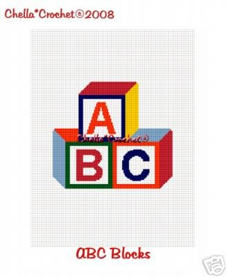 Baby Blocks ABC   Afghan Crochet Pattern Graph