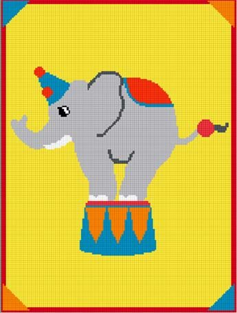 Fun & Easy Circus Elephant Afghan Crochet Pattern Graph