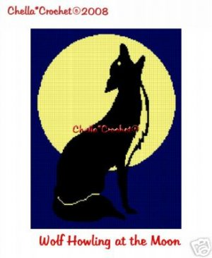 Wolf Howling at Moon  Afghan Crochet Pattern Graph
