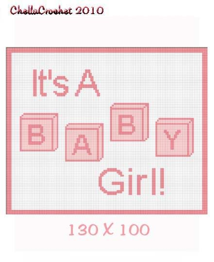 Girl Baby Blocks Afghan Crochet Pattern Graph 100st