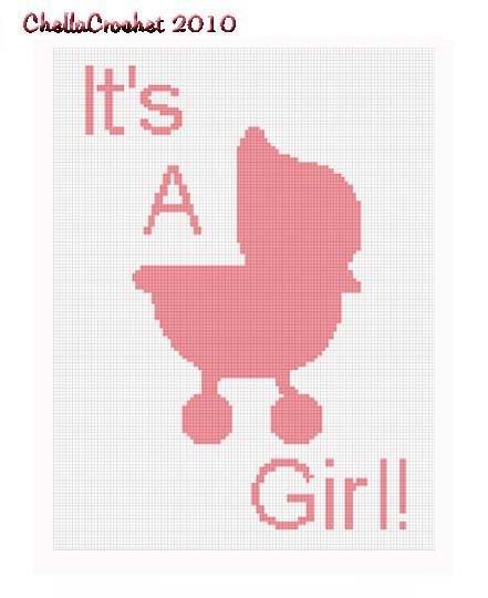 Girl Baby Stroller  Afghan Crochet Pattern Graph 100st