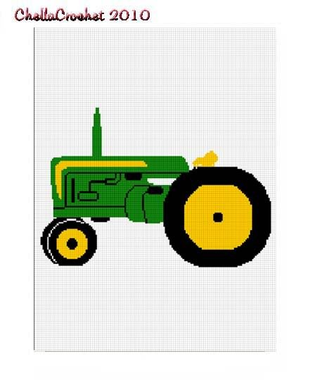Green Yellow Farm Tractor Afghan Crochet Pattern Graph