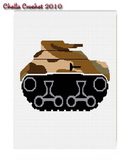 Camouflage Tank Military Afghan Crochet Pattern Graph