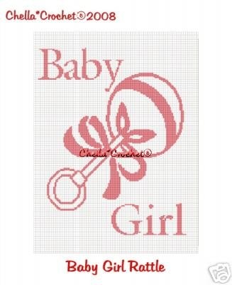 Pink Baby Girl Toy Rattle  Afghan Crochet Pattern Graph