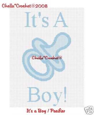 It's A Boy Pacifier Afghan Crochet Pattern