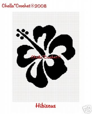 Hibiscus Flower Silhouette Afghan Crochet Pattern Graph